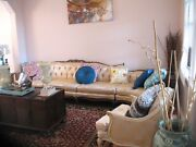 400 Down Gorgeous Queen Ann Mid-century Wood Framed Couch W/ 2 Side Chairs Set