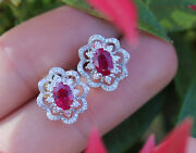 1.82ct Natural Round Diamond 14k Solid White Gold Ruby Screw Back Stud Earring