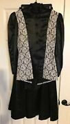 Victorian English Sidesaddle Outfit Black Satin And White Lace On Blouse Jg