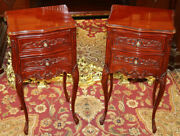 Petite Pair Of Louis Xv Style Mahogany Nightstand Tables Mint
