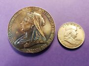 1897 Queen Victoria Diamond Jubilee Large Thick Sterling Silver Medal