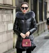 Real Sheep Leather Women's Hooded Duck Down Jacket Puffer Thicken Oversized Warm