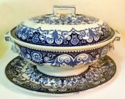Rare Antique Wedgwood Sauce Tureen And Underplate Blue And White Serving 19th C
