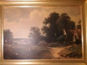 James Edwin Meadows Painting 1863 Classic Victorian Oil On Canvas