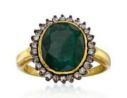 2.10ct Rose Cut Diamond Emerald Antique Victorian Look 925 Silver Cocktail Ring