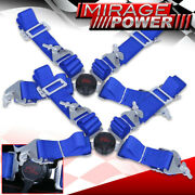 Pair Of 2 Shoulder Strap 4 Point Camlock Harness Blue Racing Seat Belts Mazda