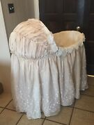 Antique Wicker Baby Bassinet, Decorative Hooded Skirt, Stand, Lining, And Bed Pad