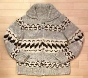 Vintage Cowichan Knit Sweater Jacket Menand039s Size L Rare Old Clothes Good Item