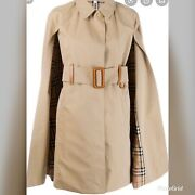 In Stores Check Lining Belted Trench Coat Cape