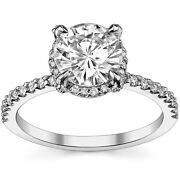 Forever One Moissanite And Diamond Petite Pave Style Engagement Ring 14k W Gold