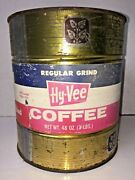 Vintage Hy-vee Coffee Tin Can Hyvee Food Stores Midwest Chariton Iowa 3 Lb Metal