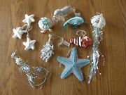 Set 9pottery Barn Under The Sea Christmas Ornament-jewele Lobster,star Fish-new