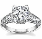 3.50ct Round Forever Brilliant Moissanite And Diamond Antique Engagement Ring