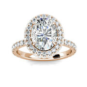 3.10ct Oval Moissanite And Diamond Halo Wedding Engagement Ring 14k Rose Gold