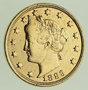 1883 24k Gold Plated And039racketeerand039 Liberty V Nickel - Great History