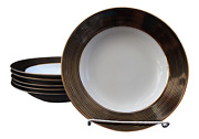 1980s Rondelle Gold Black Large Rim Soup Bowl By Fitz And Floyd - Set Of Six