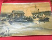 James Sessions Harbor Scene Original Watercolor On Thick Paper Some Signs Of Age