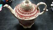 Teapot And Lid Red Toile By Burton And Burton