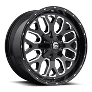 4 22x12 Fuel Black And Milled Titan Wheels 8x170 For 2003-2019 Ford F-250 F-350