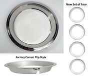Set Of 4 Beauty Rings W/ Factory Correct Clips For 14x6 Gm Rally Wheels 1967-69