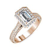 Emerald Cut Moissanite And Diamond Engagement Halo Pave Set Ring 18k Rose Gold