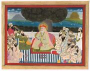 Sikh Miniature Painting Guru Nanak In Discussion With Gorakh Nath And Other Yogis