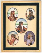 Handmade Sikhism Art Painting Miniature Portrait Of Five Emperors Of Sikh Empire