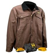 Dewalt Dchj083td1 Heated Flannel Lined Barn Coat Kit Battery And Charger S-3xl