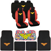 Wonder Women Seat Covers Floor Mats Auto Shade For Car And Suv - Full Set