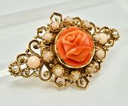Red Coral Pearl Rose Flower Pendant Brooch 14k Gold