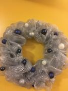 """New Handmade 20"""" Christmas Mesh Wreath In Silver And Blue Ornaments"""