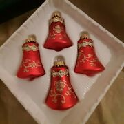 4 Vintage Krebs Red Bell Christmas Ornaments Crown Caps Glitter Lace Shiny