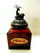Garnet Colored Glass Peace Canister With Reindeer - Red Christmas Canister W/top
