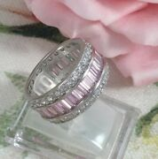 Vintage Jewellery Gold Ring Pink White Sapphires Antique Deco Jewelry 10 U