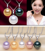 925 Sterling Silver Natural South Sea Shell Pearl Cz Pendant Necklace Gift Pe34