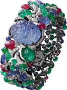 Carved Sapphire Blue 925 Sterling Silver Tutti Frutti Statement Womenand039s Bracelet