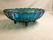 1970s Indiana Harvest Iridescent Blue Carnival Glass - 2211 Oval Center Bowl