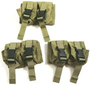 Eagle Allied Industries Mlcs Black Buckle Khaki Double Frag Grenade Pouch 3-pack