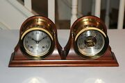 Chelsea Ship's Bell Clock And Barometer Set 4-1/2 Inch Boston U.s.a. Vintage