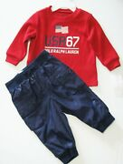 Polo Baby Boys Waffle Knit Long Sleeve Shirt And Pant Set Red Sz 3m