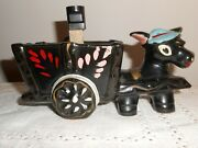Vintage Redware Donkey Mule Lamp Tv Lamp Light Red Ware 1950and039s Japan Label Cart