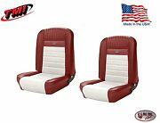 Deluxe Pony Seat Upholstery Ford Mustang, Front Bucket Seats - Red And White