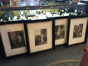 Four Thomas R Appleton 1907 Color Framed Market Etchings Signed Graves And Co.