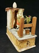 Vintage 1910's Erzgebirge German Girl In Outhouse Crank Toy