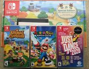 Nintendo Switch Animal Crossing Special Edition Console + Games New Read