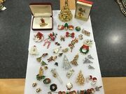 Vintage Christmas Holiday Tree Pins Earrings Set Bracelet Button Covers Lot