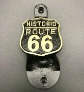 Vintage Style Route 66 Cast Iron Wall Mounted Bottle Opener Historic Highway