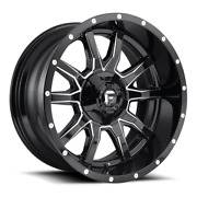 4 17x9 Fuel Gloss Black And Mill Vandal Wheel 5x114.3 5x127 For Jeep Toyota Gm