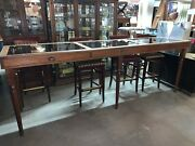 Beautiful Artifact Pub Height Display Case Table Loaded With Vintage Clay Pipes