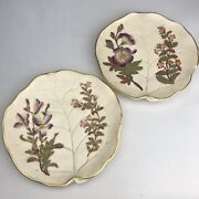 Pair Of Royal Worcester Plates 1888 Aesthetic Era Ivory Leaf Form Painted Flower
